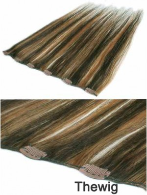 Fashion Brown Straight Remy Human Hair Clip In Hair Extensions