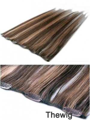 High Quality Brown Straight Remy Human Hair Clip In Hair Extensions