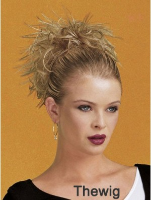 Clip On Hairpieces Short Length Blonde Color Straight Style
