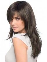 Human Hair Wigs Layered Cut Brown Color