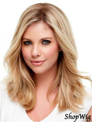 Human Hair Wavy Blonde With Monofilament Blonde Color Shoulder Length