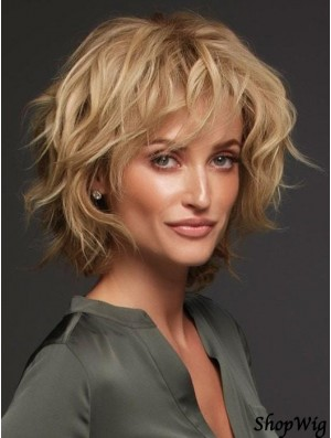 Blonde Layered Curly 12 inch Humanhair Wigs