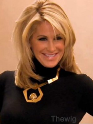 Kim Zolciak Wig With Bangs Lace Front Blonde Color Shoulder Length