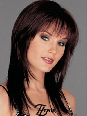Human Hair Monofilament Wig Long Length Auburn Color With Bangs