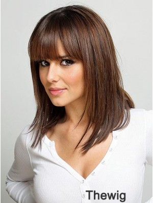 Human Hair Monofilament Wig UK With Bangs Straight Style Shoulder Length