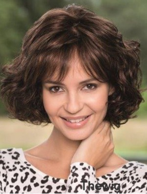 Lace Wig With Bangs Wavy Style Chin Length Brown Color