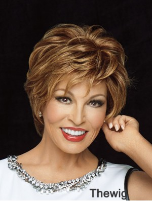 Short Human Hair Monofilament Wigs Layered Cut Wavy Style Blonde Color