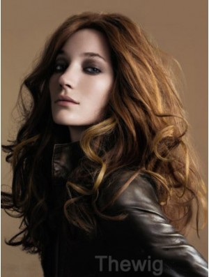 Long Remy Human Wavy Brown 22 inch Monofilament Wig