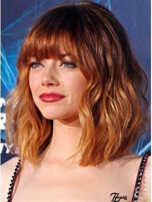 Cropped Wavy 100% Hand Tied Virgin European Human Hair Emma Stone Wig