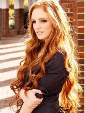 Human Hair Long Wavy Wigs 100% Hand Tied Wavy Style Long Length