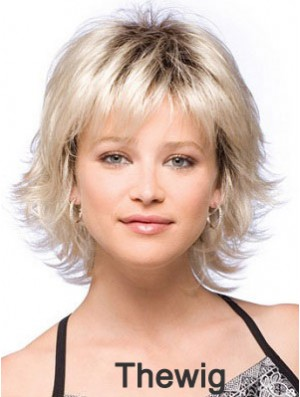 Synthetic Hair Wigs Chin Length With Bangs Blonde Color With Capless