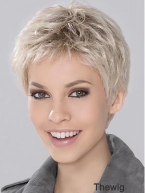 Synthetic Incredible Cropped Platinum Blonde Wavy Monofilament Wigs