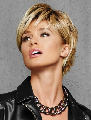 """Layered Blonde Straight 6"""" Cropped Synthetic Wigs"""