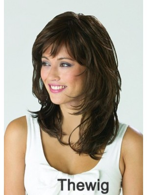 Lace Front Wigs Synthetic Brown Color Shoulder Length Layered Cut