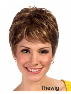 Boycuts Cropped Synthetic Straight Brown Ladies Monofilament Wig Sale