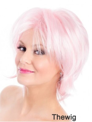 Straight Bobs Pink 8 inch Capless Wig Fashion