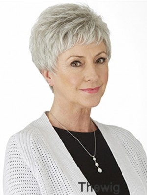 Grey Straight Wig With Monofilament Synthetic Short Length