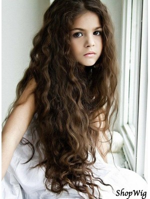 Curly Long Brown Synthetic Capless Kids Wigs