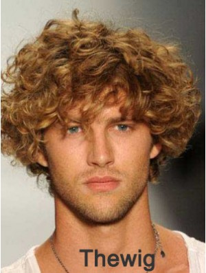 """Blonde 8"""" Remy Human Curly Layered Lace Front Mens Wigs"""