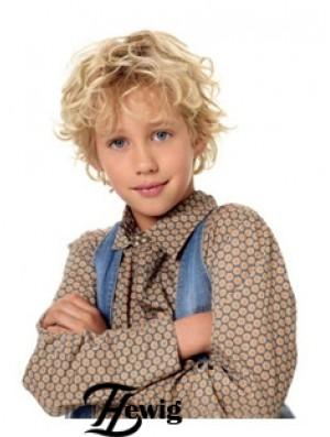 Wavy Short Blonde Synthetic Capless Kids Wigs