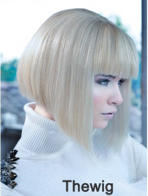 Lace Front Bobs Chin Length Straight 12 inch Platinum Blonde No-Fuss Fashion Wigs