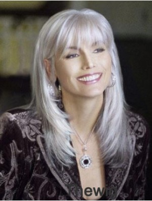 Incredible Long Straight 16 inch Synthetic Grey Wigs