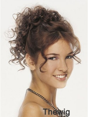 Clip On Hairpieces For Women Brown Color Curly Style With Synthetic