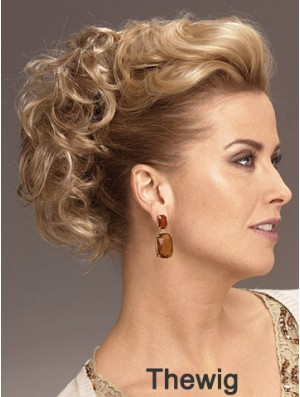 Clip On Hairpieces With Synthetic Blonde Color Short Length Curly Style